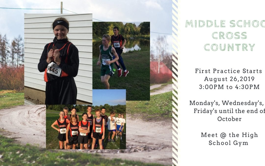 Middle School Cross Country begins August 26, 2019